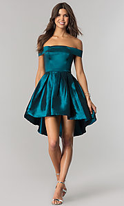 Image of off-shoulder short homecoming dress with high-low hem. Style: MT-8858 Front Image