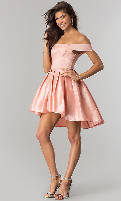 Image of off-shoulder short homecoming dress with high-low hem. Style: MT-8858 Detail Image 2
