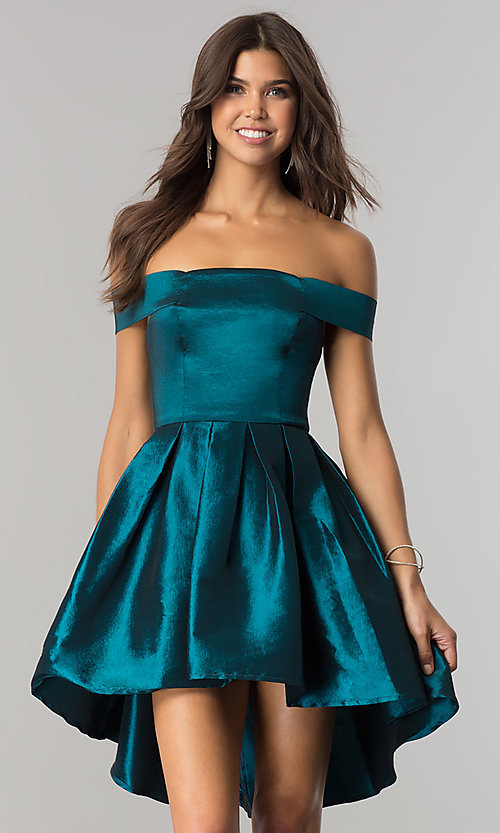 Image of off-shoulder short homecoming dress with high-low hem. Style: MT-8858 Detail Image 3