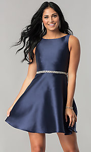 Short Navy Blue Homecoming Dress with Back Cut Outs