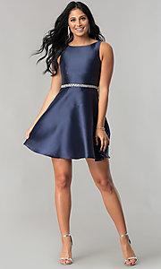 Image of short navy blue homecoming dress with back cut outs. Style: MT-8784 Detail Image 1