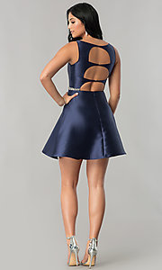 Image of short navy blue homecoming dress with back cut outs. Style: MT-8784 Detail Image 2