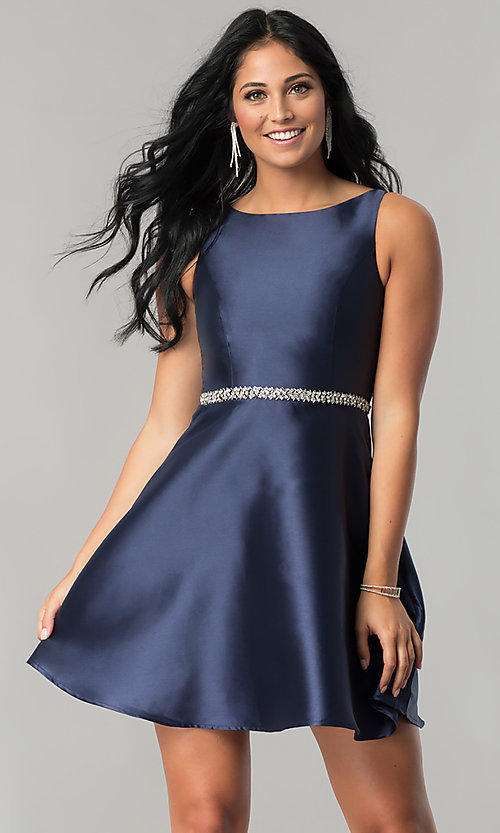 Image of short navy blue homecoming dress with back cut outs. Style: MT-8784 Back Image
