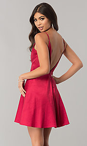 Image of short taffeta homecoming dress with open v-back. Style: MT-8764 Detail Image 3