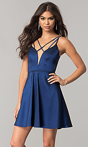 Short Taffeta Homecoming Dress with Open V-Back