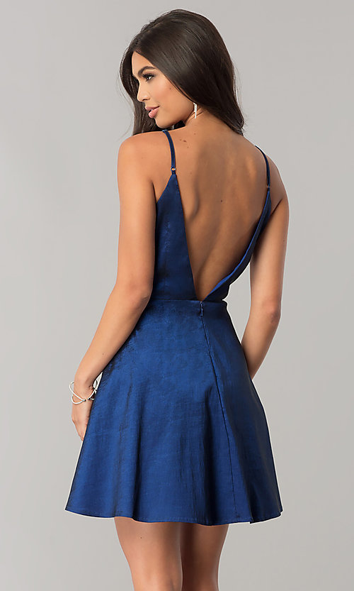 Image of short taffeta homecoming dress with open v-back. Style: MT-8764 Back Image