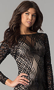 Image of long-sleeve short black sequin holiday party dress. Style: MT-8828 Detail Image 1