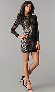 Image of long-sleeve short black sequin holiday party dress. Style: MT-8828 Detail Image 2