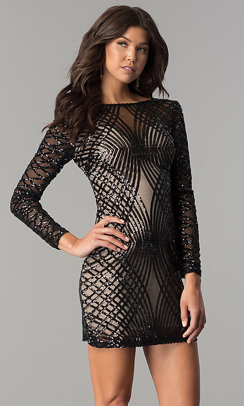 Image of long-sleeve short black sequin holiday party dress. Style: MT-8828 Front Image