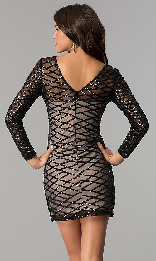 Image of long-sleeve short black sequin holiday party dress. Style: MT-8828 Back Image