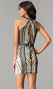 Image of short art-deco-design homecoming dress. Style: MT-8697 Back Image