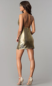 Image of short open-back metallic gold holiday party dress. Style: MT-8848 Detail Image 2