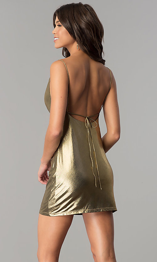 Image of short open-back metallic gold holiday party dress. Style: MT-8848 Back Image