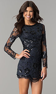 Long Sleeve Short Sequin Homecoming Dress