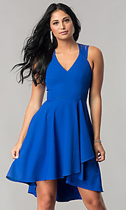 Image of high-low royal blue homecoming dress with cut outs. Style: MT-8658 Front Image