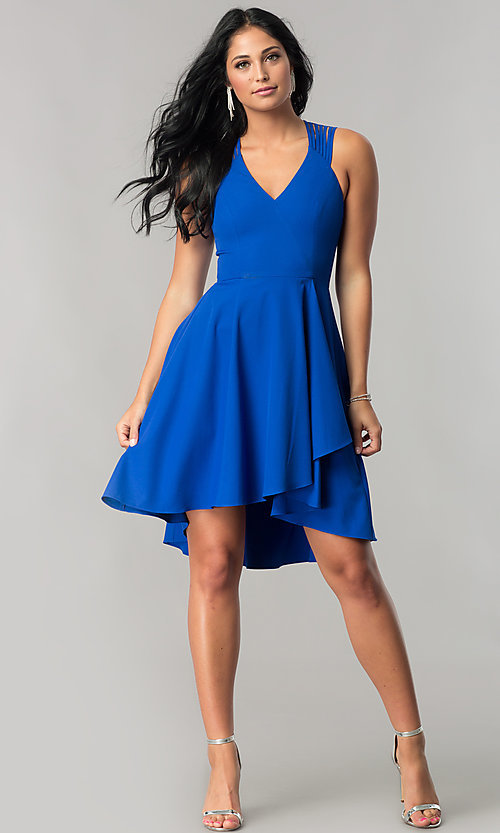 Image of high-low royal blue homecoming dress with cut outs. Style: MT-8658 Detail Image 1