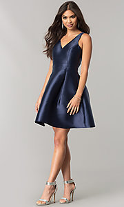Image of navy blue homecoming dress with embroidered back.  Style: MT-8521 Detail Image 1