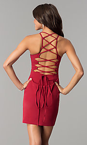 Image of short homecoming dress with lace-up corset back. Style: MT-8726 Back Image