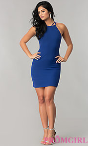 Image of short homecoming dress with lace-up corset back. Style: MT-8726 Detail Image 1