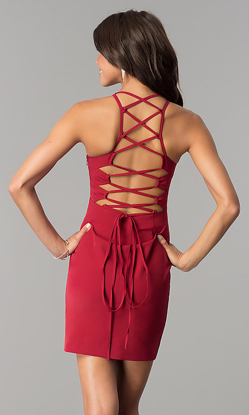 Image of short homecoming dress with lace-up corset back. Style: MT-8726 Front Image