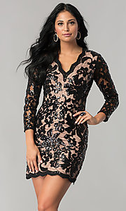 Image of black sequin-print lace party dress with 3/4 sleeves. Style: MT-8753 Front Image
