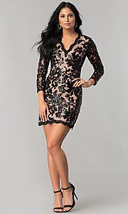 Image of black sequin-print lace party dress with 3/4 sleeves. Style: MT-8753 Detail Image 1