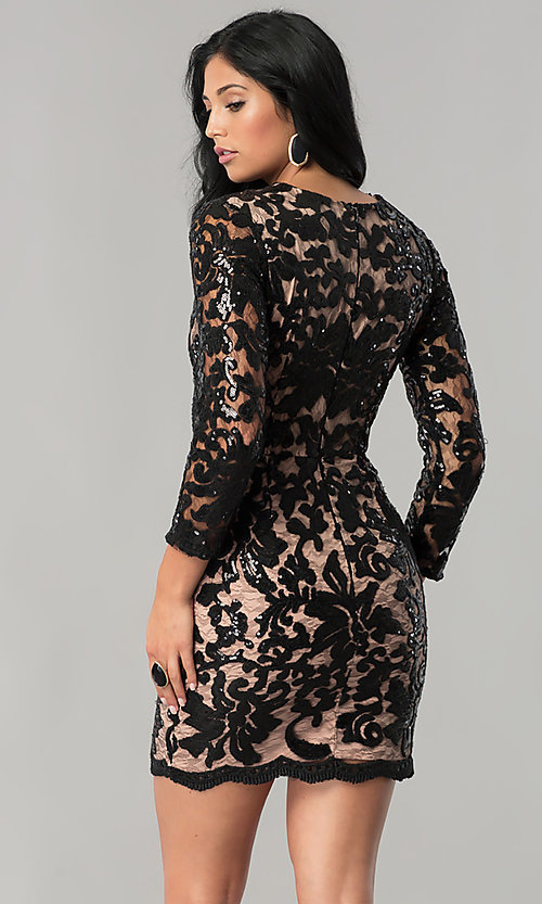 Image of black sequin-print lace party dress with 3/4 sleeves. Style: MT-8753 Back Image