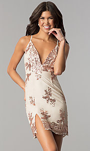 Image of sequin-embellished short pink nude party dress. Style: MT-8740 Front Image