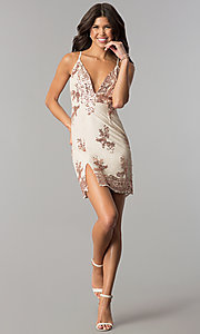 Image of sequin-embellished short pink nude party dress. Style: MT-8740 Detail Image 2