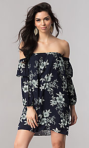 Short Shift Off-the-Shoulder Print Party Dress