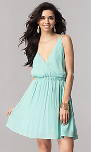 Image of short v-neck casual party dress with open back. Style: RO-R66607 Detail Image 3