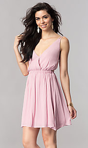 Image of short v-neck casual party dress with open back. Style: RO-R66607 Detail Image 2