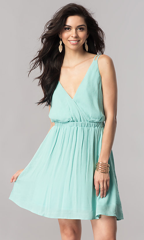 Open-Back Short Casual V-Neck Party Dress - PromGirl