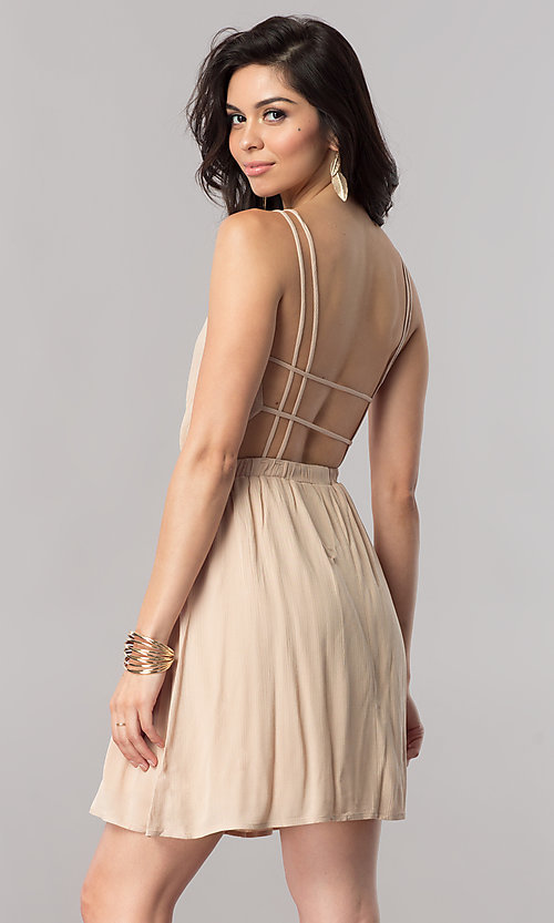 Image of short v-neck casual party dress with open back. Style: RO-R66607 Back Image