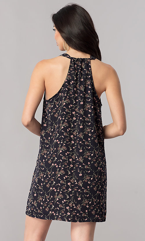 Image of floral-print short shift t-back party dress in silk. Style: RO-R66919 Back Image