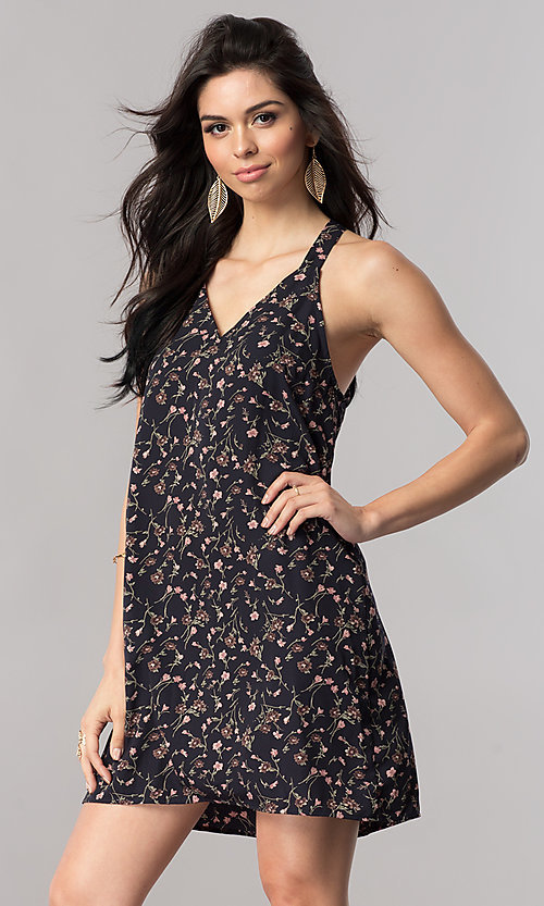 Image of floral-print short shift t-back party dress in silk. Style: RO-R66919 Front Image