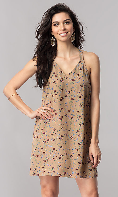 Image of floral-print short shift t-back party dress in silk. Style: RO-R66919 Detail Image 2