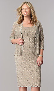 Sequined Lace Short Mother-of-the-Bride Plus Dress