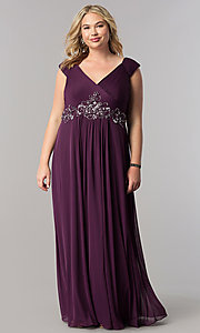 Image of purple long plus-size mother-of-the-bride dress. Style: AX-432854 Front Image