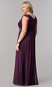 Image of purple long plus-size mother-of-the-bride dress. Style: AX-432854 Back Image
