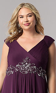 Image of purple long plus-size mother-of-the-bride dress. Style: AX-432854 Detail Image 1