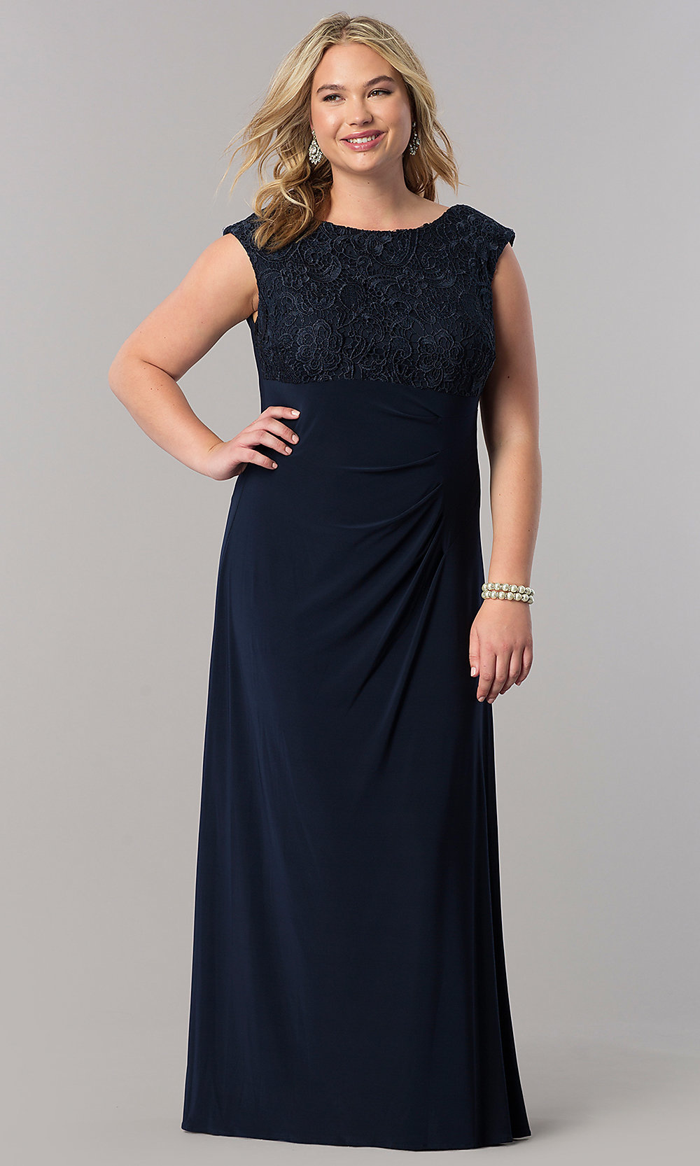 Plus-Size Mother-of-the-Bride Navy Dress - PromGirl