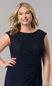 Image of long navy blue mother-of-the-bride plus-size dress Style: AX-4121585 Detail Image 1