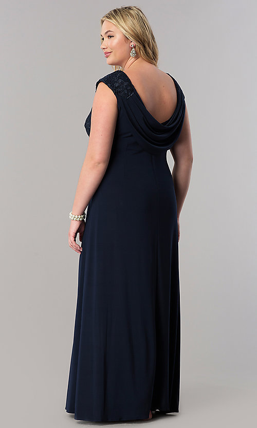 Image of long navy blue mother-of-the-bride plus-size dress Style: AX-4121585 Back Image