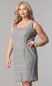 Image of short silver lace plus-size mother-of-the-bride dress. Style: AX-4121768 Front Image