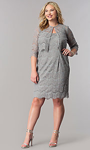 Image of short silver lace plus-size mother-of-the-bride dress. Style: AX-4121768 Detail Image 2