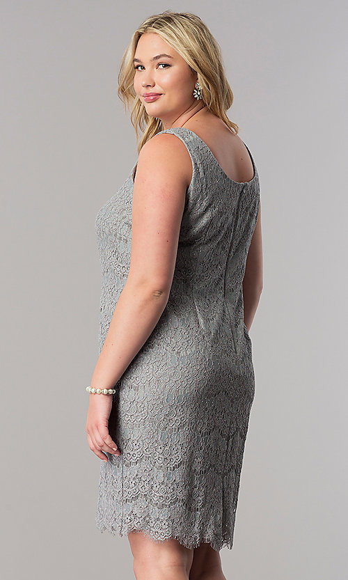 Image of short silver lace plus-size mother-of-the-bride dress. Style: AX-4121768 Back Image