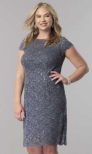 Lace Short-Sleeve Plus Mother-of-the-Bride Dress