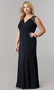 Deep Navy Blue Long V-Neck Plus Mother-of-the-Bride Dress
