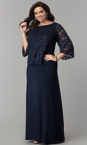 MOB Long Dress with 3/4 Sleeve Lace Popover Bodice